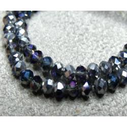 Fils de 100 perles rondes aplaties en Cristal de Chine 3x2mm Comet Blue (x 1 fil de 100 perles)