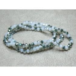 Perles rondes aplaties facettées 4x3mm Light Grey Green Irisé (x 1 fil de 150 perles)