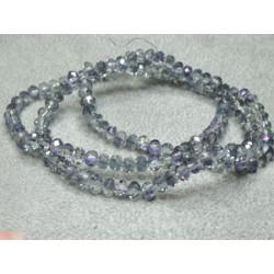 Perles rondes aplaties facettées 4x3mm Crystal Blue Irisé (x 1 fil de 100 perles)
