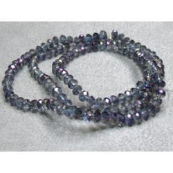 Fils de 150 perles rondes aplaties en Cristal de Chine 4x3mm Crystal Purple (x 1 fil de 150 perles)