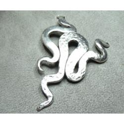 Pièce en Métal Serpent Vieil Argent 66X49mm (X1)