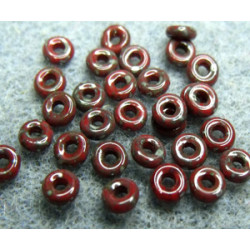 Perle en verre de Bohème O Bead® Red Picasso 4x2mm (X 5gr)