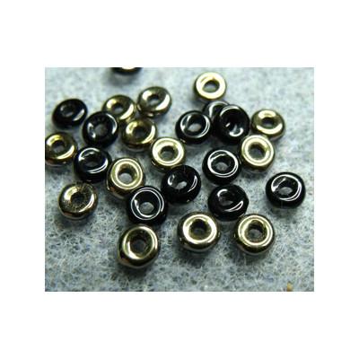 Perle en verre de Bohème O Bead® Jet Valentinite 4x2mm (X5gr)