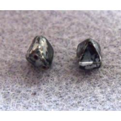 Perles Pyramides 6X6mm Jet Picasso (X10)