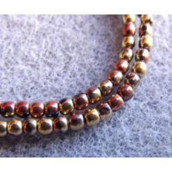 Perles Bohème 2 mm California Jet Gold Rush (X1200 perles)