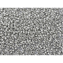 R11-0402 Rocailles 11/0 White Opaque Aluminium Silver (x10gr)