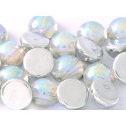 Dome Bead 14 x 8 mm Crystal Silver Rainbow (x4)