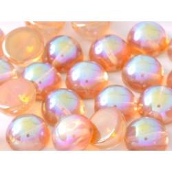 Dome Bead 14 x 8 mm Crystal Orange Rainbow (x4)