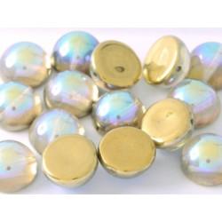 Dome Bead 14 x 8 mm Crystal Golden Rainbow (x4)