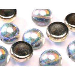 Dome Bead 14 x 8 mm Crystal Graphite Rainbow (x4)