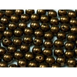 Perle en verre de Bohème 6mm Jet Bronze (X25)