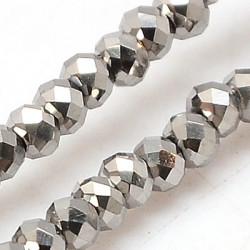 Perles Rondes Aplaties en Cristal de Chine 2.5x2mm Silver (x1fil)