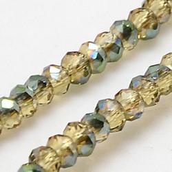 Perles Rondes Aplaties en Cristal de Chine 2.5x2mm Lime Irisé (x1fil)