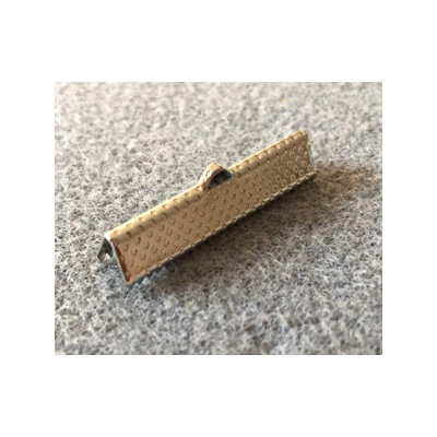 Embout à Clipser rectangle Argenté vieilli 35x8x5mm trou:1x3mm (x10)