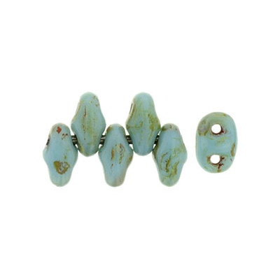 Perle SuperDuo® Mini Blue Turquoise Picasso 2X4mm (X10gr)