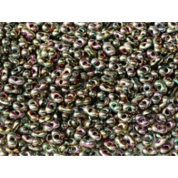 Perles Peanut 2x4mm Jet Full Vitrail Green (x5gr env)