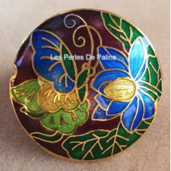 Perle Cloisonnée Cabochon Chocolat 40mm (x1)
