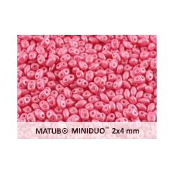 Perle SuperDuo® Mini Opaque Light Pink Shine 2X4mm (X10gr)