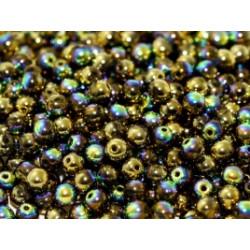 Perle en verre de Bohème 6mm Crystal Glittery Amber (X25)