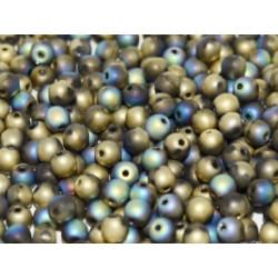 Perle en verre de Bohème 6mm Crystal Glittery Amber Matted (X25)