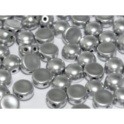 Perle Cabochon 2 trous Alumunium Silver (x12)