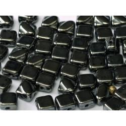 Perles Silky 6X6mm Jet Hématite (X50)