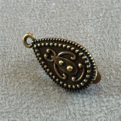 Boucle d'oreille Clip + anneau Bronze Poire 25x14mm (x2)