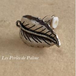 Boucle d'oreille Clip + anneau Argenté Feuille 30x28mm (x2)