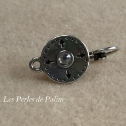 Boucle d'oreille Strass + anneau Vieil Argent Rond 13mm (x2)