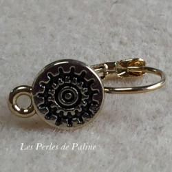 Boucle d'oreille + anneau Doré à l'or fin Rond 10mm (x2)