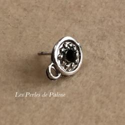 Boucle Puce Strass Noir + anneau Vieil Argent rond 8mm (x2)