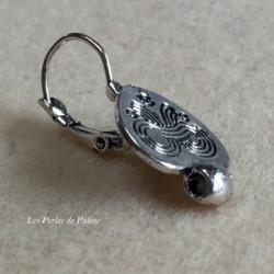 Boucle d'oreille + anneau Vieil Argent Coeur 15x20mm (x2)