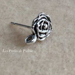 Boucle d'oreille + anneau Vieil Argent Rose 8mm (x2)