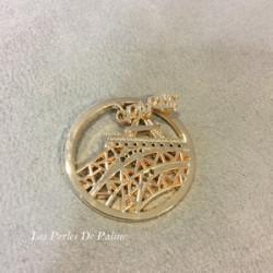 Cabochon métal Paris 33 mm Or (X1)