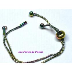 Chaine Bracelet réglable Multicolore 12cm (x1)