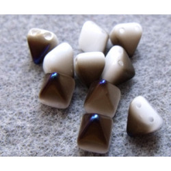 Perles Pyramides 6X6mm Alabaster Azuro (x100)
