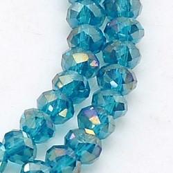 Perles Rondes Aplaties en Cristal de Chine 2.5x2mm Indicolite Irisé (x 1 fil)