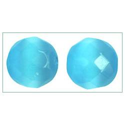 Ronde facettée ~ Oeil de chat ~ 12mm Bleu Turquoise (x1)