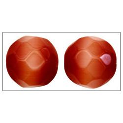Ronde facettée ~ Oeil de chat ~ 12mm Rouge  (x1)