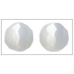 Ronde facettée ~ Oeil de chat ~ 12mm Blanc  (x1)