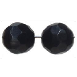 Ronde facettée ~ Oeil de chat ~ 12mm Noire  (x1)