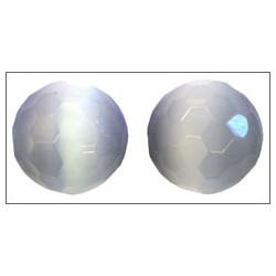 Ronde facettée ~ Oeil de chat ~ 12mm Gris  (x1)