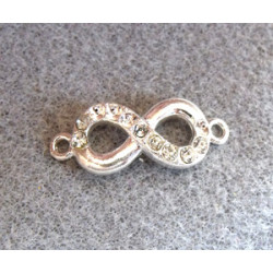 Intercalaire Infinity Vieil Argent Crystal 32X15mm (X1)
