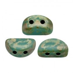 Perles Kos® par Puca® 3x6mm Opaque Aqua Picasso (x5gr)
