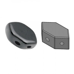 Perles Paros® par Puca® 4x7mm Jet Hematite (x5g)