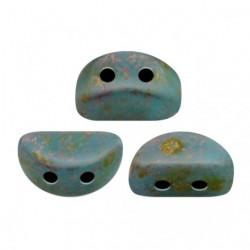 Perles Kos® par Puca® 3x6mm Opaque Aqua Deep Gold (x5gr)