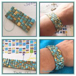Grille Bracelet Géometrical Turquoise Bronze et Or 16cm (X1)