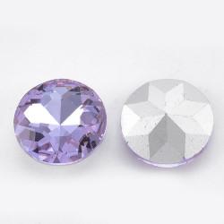 Cabochon rond en verre 14mm Violet (X1)