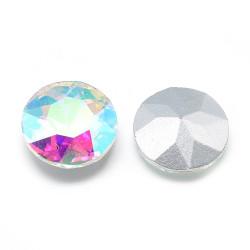 Cabochon rond en verre 14mm Crystal Ab (X1)