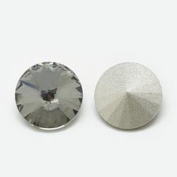 Cabochon rond en verre 14mm Black Diamant (X1)